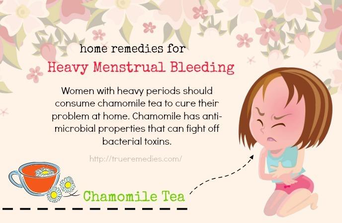 home remedies for heavy menstrual bleeding - chamomile tea