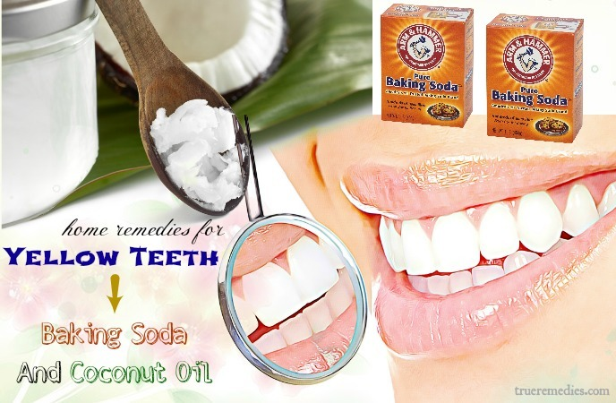 home remedies for yellow teeth - baking soda and coconut oil