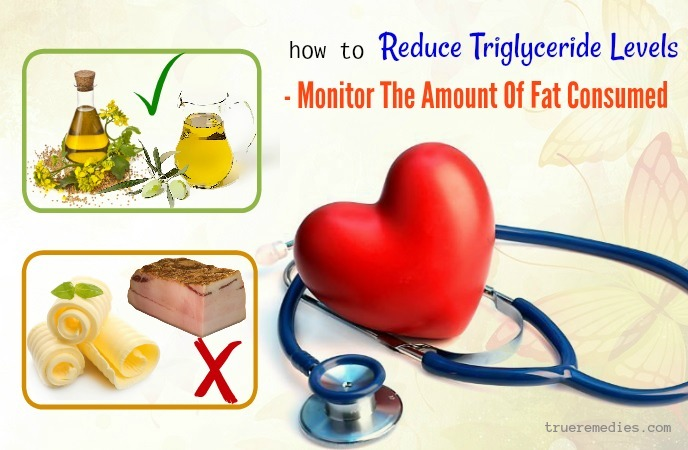 how to reduce triglyceride levels fast - monitor athe amount of fat consumed