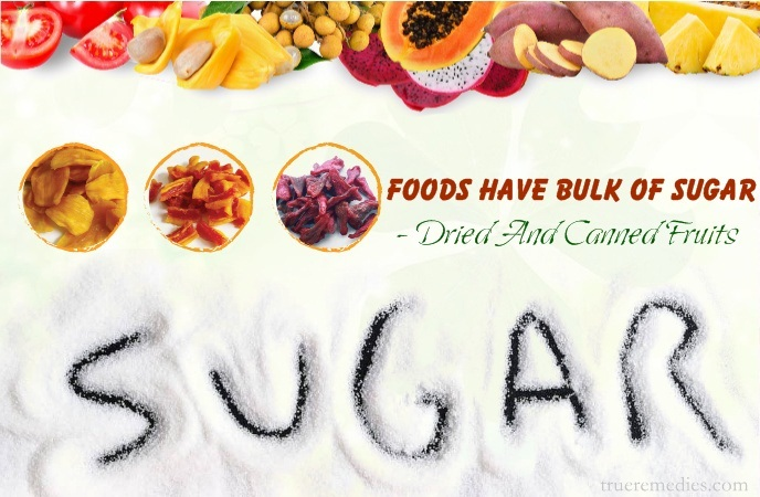 foods have bulk of sugar - dried and canned fruits